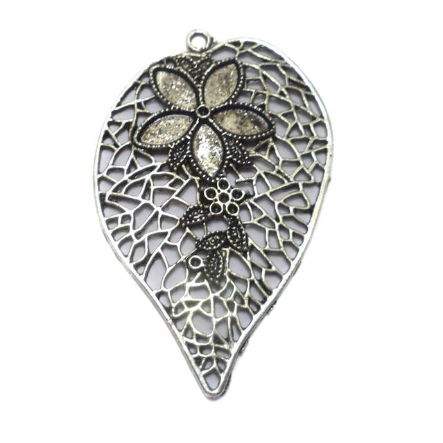 2 German Silver Heart Pendant 57x35mm