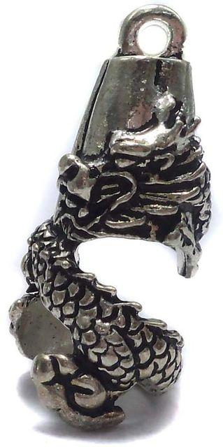 4 German Silver Dragon Pendant 28x11mm
