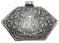 German Silver Ganesha Pendant 55x85mm