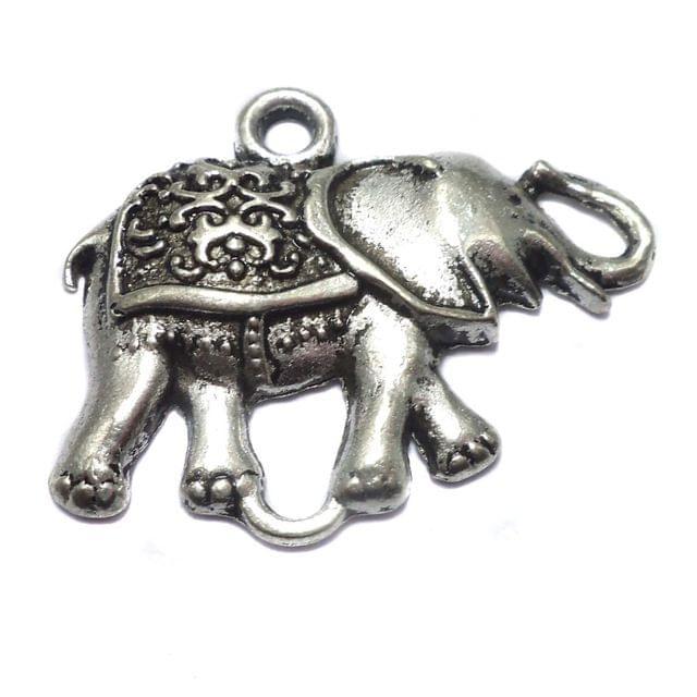 2 German Silver Elephant Pendant 40x30mm