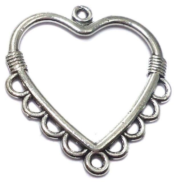 4 German Silver Heart Pendants Charm 32x32mm