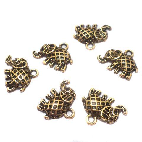 50 Pcs. German Silver Elephant Charms Golden 17x14 mm
