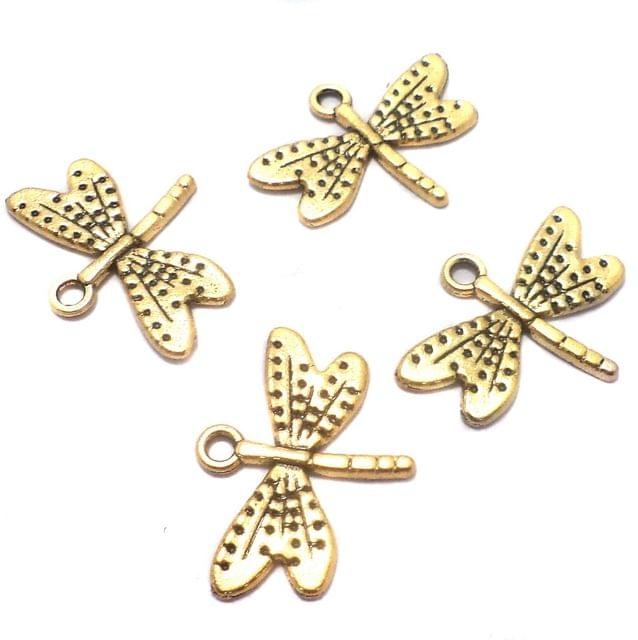 25 Pcs. German Silver Butterfly Charms Golden 25x19 mm