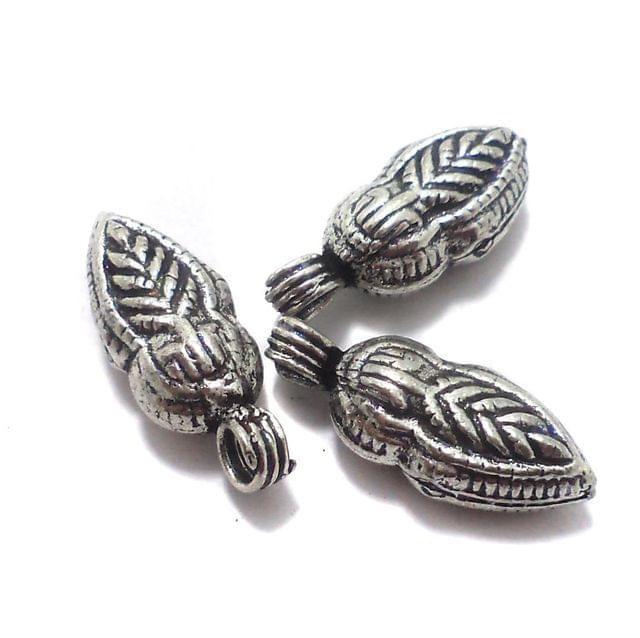10 Pcs. German Silver Leaf Charms Silver 26x10 mm