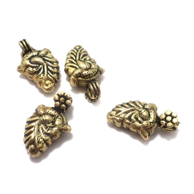 20 Pcs. German Silver Leaf Charms Golden 23x14 mm