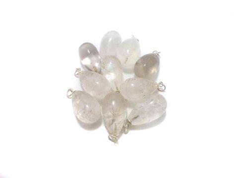 10 Pcs. White Onyx Drop Stone Pendants 32x20 mm