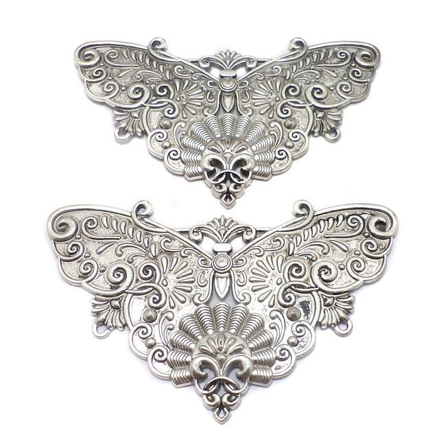 2 Pcs. German Silver Butterfly Neck Collar 4.5x2.5 Inch