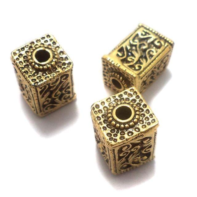 10 Pcs. German Silver Ractangle Beads Golden 17x11 mm