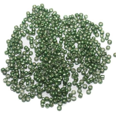 Metallic Seed Beads Green (100 Gm), Size 11/0