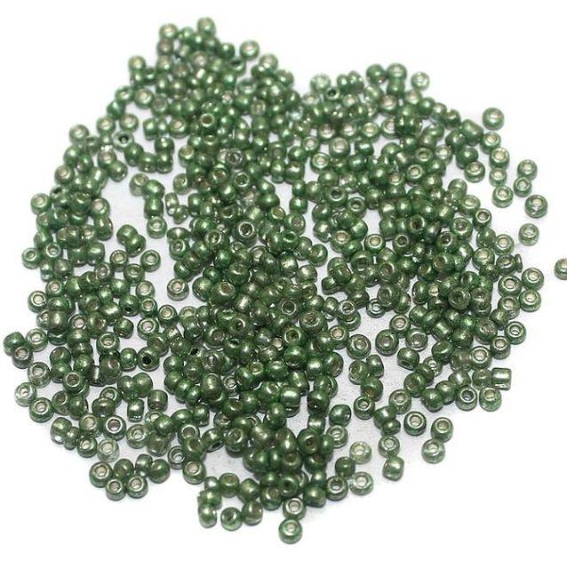 Metallic Seed Beads Green (100 Gm), Size 11/0