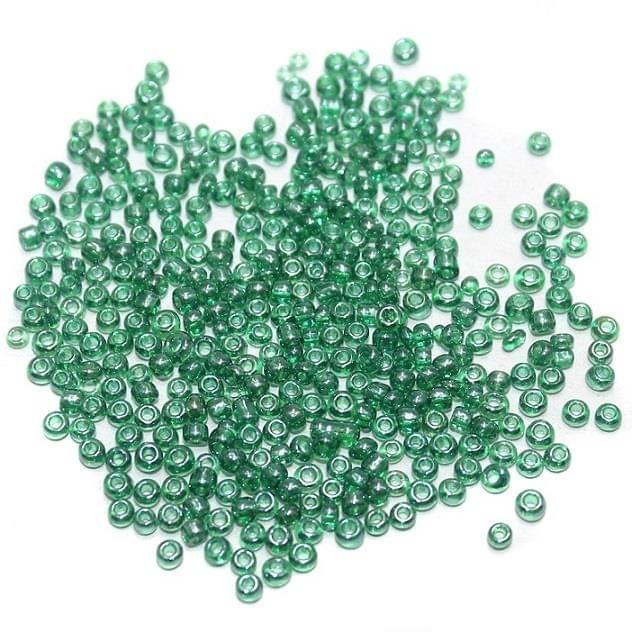 Seed Beads Green AB (100 Gm), Size 11/0