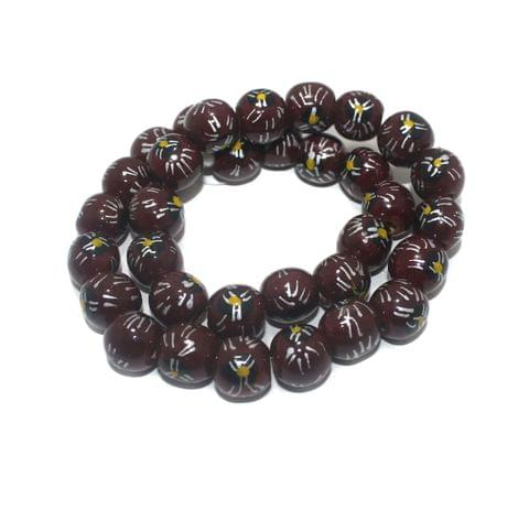 30+ Hand Printed Wooden Round Beads Maroon 14mm
