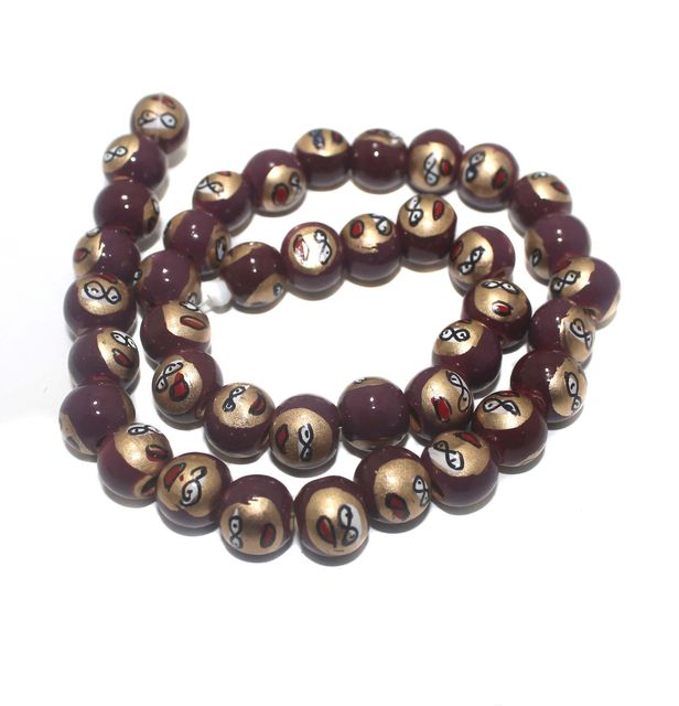35+ Hand Printed Wooden Round Beads Blood Red 12mm