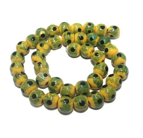 35+ Hand Printed Wooden Round Beads Yellow And Green 12mm