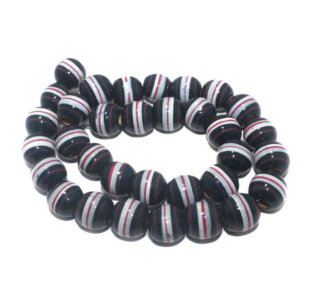 30+ Hand Printed Wooden Round Beads Dark Navy Blue 14mm