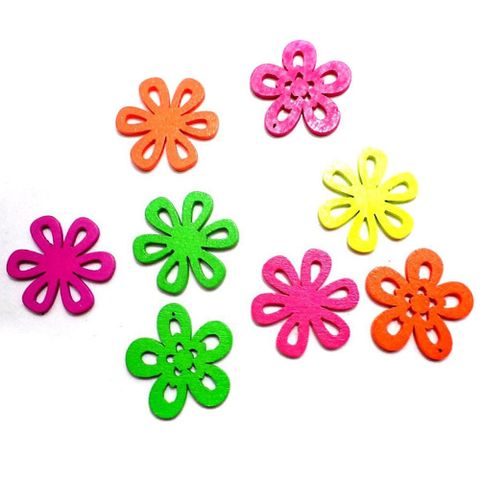 40 Wooden Flower Pendants and Charms Assorted 23mm