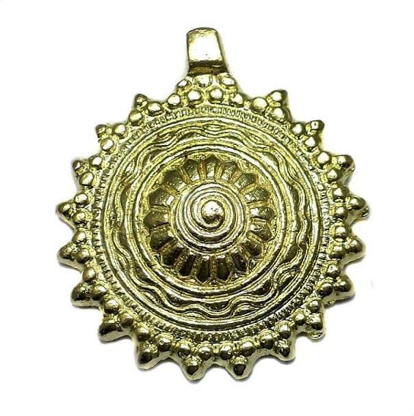 Antique Golden Metal Pendant 2.50 Inch