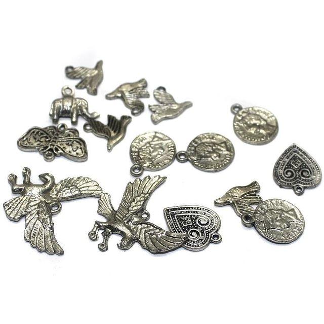 20 Metal Pendant Charms Assorted