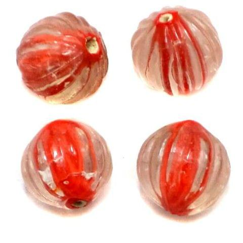 20+ Melon Beads Inside Color Red 16mm