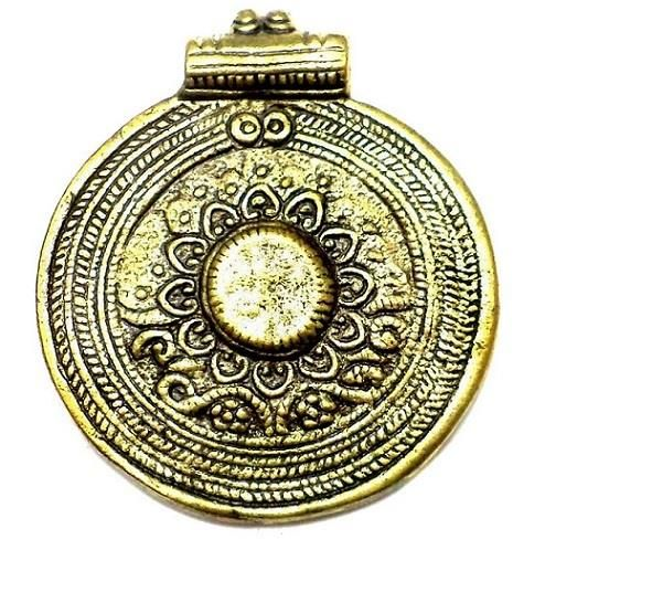 Antique Golden Metal Circle Pendant 2.50 Inch