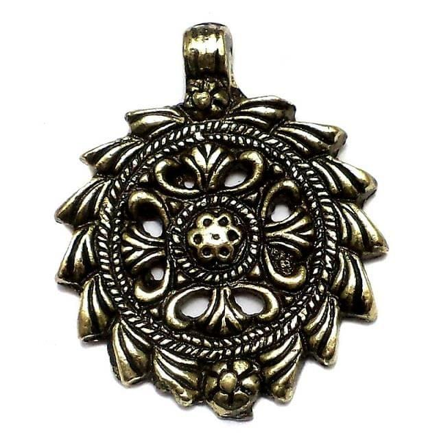 Antique Golden Metal Flower Pendant 2 Inch