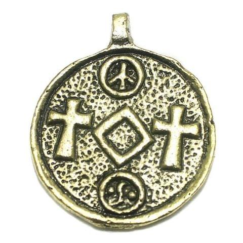 Metal Pendant Golden 46x38mm