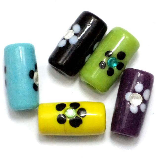 15+ Fancy Flower Tube Beads Assorted 20x10 mm