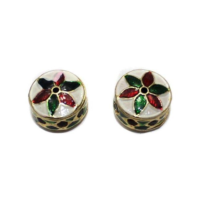 2 Meenakari Beads Red And Green 13x9mm