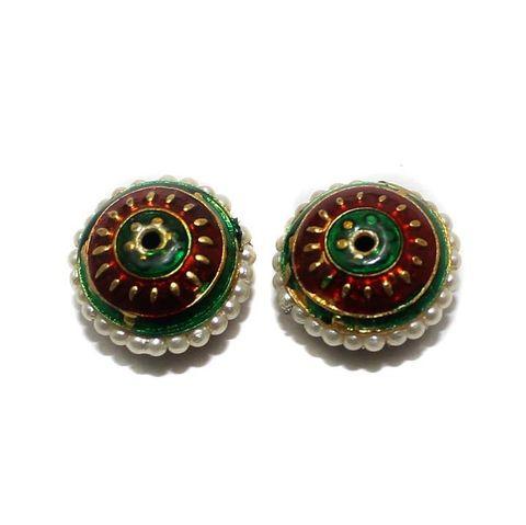 4 Meenakari Pearl Beads Red And Green 18x10mm
