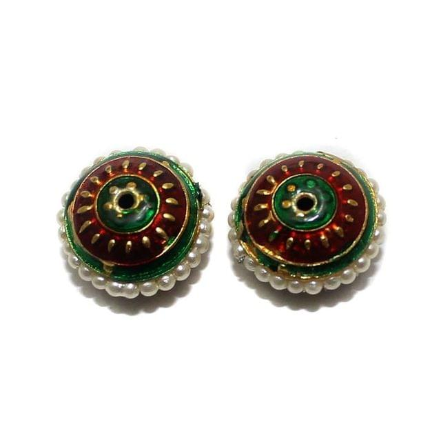4 Meenakari Pearl Beads Red And Green 18x10mm