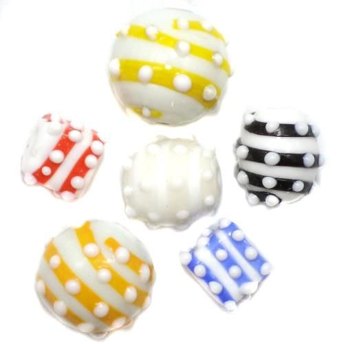 2 Striped Beads Assorted 14-17mm