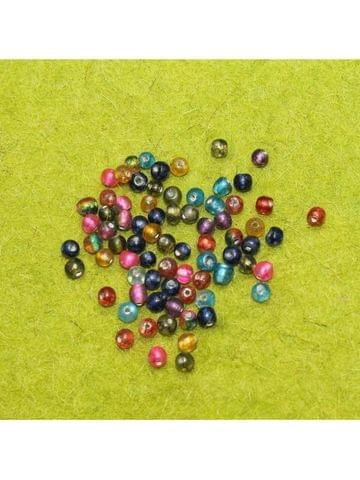 250 GM Marble Round Beads Assorted 4 mm