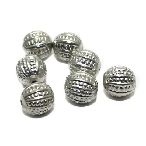 50 CC Melon Beads Silver 10mm