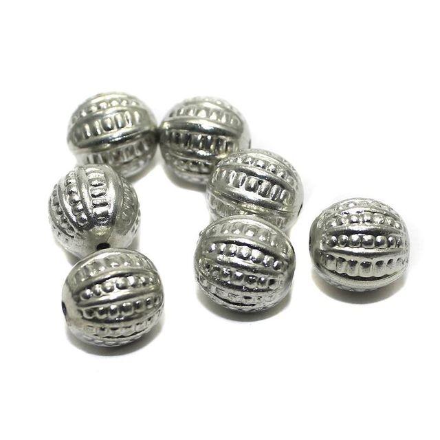 50 CC Melon Beads Silver 10mm
