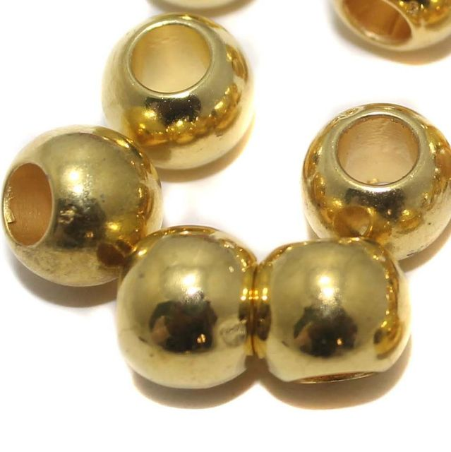 100 CCB Round Beads Big Hole Golden 12 mm