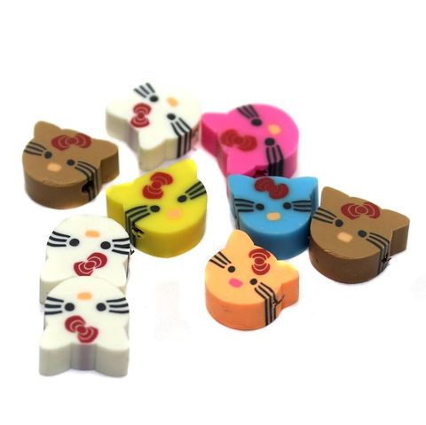 50 Polymer Clay Beads Cat Assorted Color 10 mm