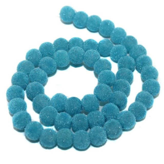 5 Strings Velvet Glass Clear Round Beads Turquoise 8mm