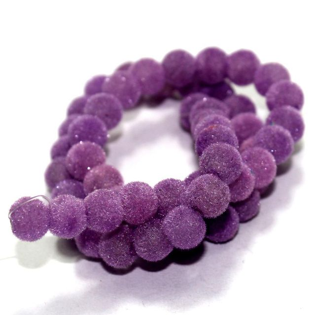 5 Strings Bubblegum Velvet Glass Clear Round Beads Purple 8 mm