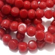 1 String Glass Half Round Beads Red 9 mm