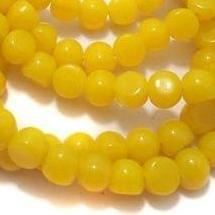 1 String Glass Half Round Beads Yellow 9 mm