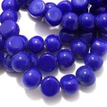1 String Glass Half Round Beads Blue 9 mm