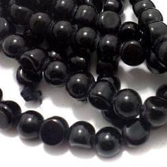 1 String Glass Half Round Beads Black 9 mm