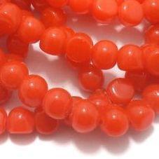 1 String Glass Half Round Beads Orange 9 mm