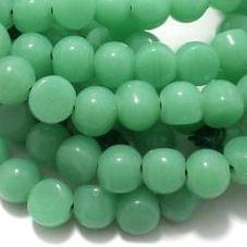 1 String Glass Half Round Beads Aquamarine 9 mm