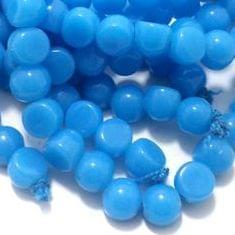 5 String Glass Half Round Beads Sky Blue 9 mm