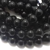 1 String Glass Drop Beads Black 10 mm