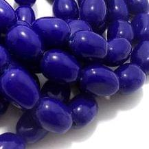 5 Strings Glass Oval Beads Blue 16x12 mm