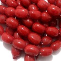 5 Strings Glass Oval Beads Red 16x12 mm