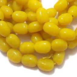 5 Strings Glass Oval Beads Yellow 16x12 mm