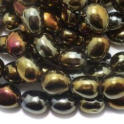 5 Strings Glass Metallic Oval Beads 15x12 mm